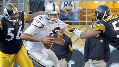Steelers linebacker James Farrior gets a piece of Raiders quarterback Jason Campbell's jersey as he goes for a sack in the second quarter Sunday at Heinz Field.
