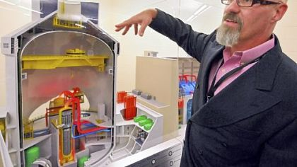 Westinghouse's David Constance explains a model of the company''s AP1000 nuclear power plant.