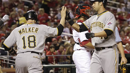 The Pirates' Garrett Jones is congratulated by Neil Walker next after his two-run home run in the first inning Tuesday at Busch Stadium.