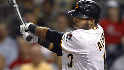 The Pirates' Pedro Alvarez watches his two-run double in the third inning of Wednesday's game against the Cardinals at PNC Park.