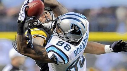 Carolina's Dante Rosario outfights Troy Polamalu for the ball.