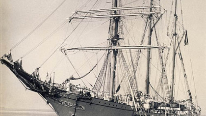 The Mercator in 1932, an example of barquentine ships that plied the Great Lakes in the 19th century. One such rig, the Indiana, lies at the bottom of Lake Erie.