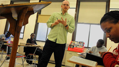 English instructor Jon Rooke teaches a sophomore class at Oliver High School.