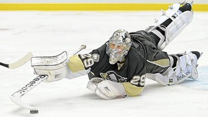 "Coach Dan Bylsma: ""There's a time when [Marc-Andre Fleury] has got to come up with the save."""
