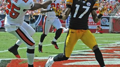 Steelers wide receiver Mike Wallace caught two touchdown passes against the Buccaneers Sunday.