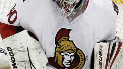 Senators goaltender Robin Lehner blocks a shot during the third period.