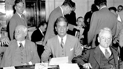 Sen. Duncan U. Fletcher of Florida, left, Ferdinand Pecora, counsel of the Senate Banking and Currency Committee, center, and Sen. Carter Glass of Virginia are seen during the re-opening of the Senate investigation of the J.P. Morgan Co. in 1933.