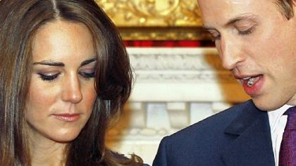 Britain&#039;s Prince William and his fiancee, Kate Middleton,