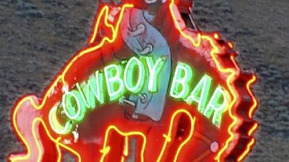 The rider atop the bucking bronco is the symbol of Jackson Hole and its honky-tonk Million Dollar Cowboy Bar.