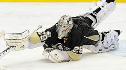 Penguins goaltender Marc-Andre Fleury has a 0-3-0 record this season.