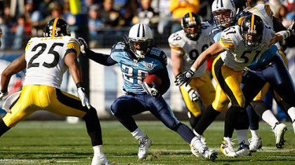 In two career games, Titans running back Chris Johnson has failed to reach 100 yards rushing against the Steelers.