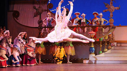 "Julia Erickson and Robert Moore perform as the Sugarplum Fairy and Cavalier in the Pittsburgh Ballet Theatre production of ""The Nutcracker."""