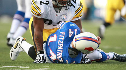 Steelers linebacker James Harrison was fined for a hit on Bills quarterback Ryan Fitzpatrick this past Sunday.