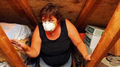 Stacy Beisler climbs the ladder into the attic of her Lincoln home wearing a mask to shield her from the soot on the  boxes.  She says black soot covers everything in the attic and will makes her sick if she goes there without a mask.