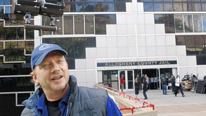 Director Paul Haggis filming at the county jail.