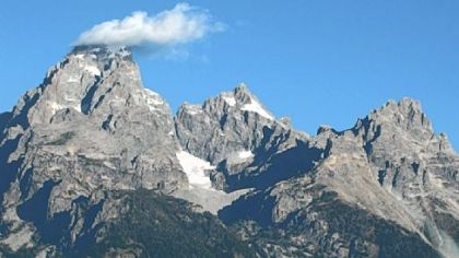 Wyoming's Teton Range, with a dozen peaks higher than 11,000 feet, is snowcapped year-round.