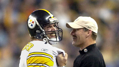 Ben Roethlisberger shares a moment with coach Bill Cowher in the closing seconds of Super Bowl XL.
