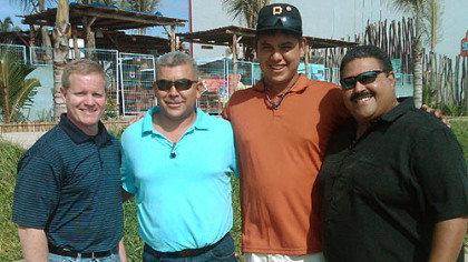 "The Pirates formally completed the signing of 16-year-old pitcher Luis Heredia with a ceremony at a port in his native Mazatlan, Mexico. Left to right: general manager Neal Huntington, Mexican scouting supervisor Jesus ""Chino"" Valdez, Heredia and Latin American scouting director Rene Gayo."