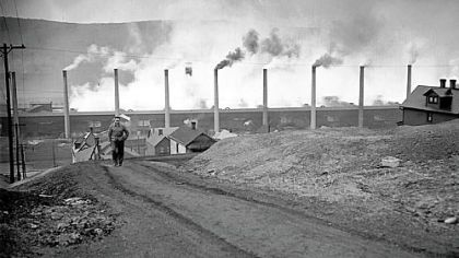 Stacks of the Donora Zinc Works of American Steel & Wire Co. spew smoke at full blast after the smog tragedy of October 1948 in this archived photo.
