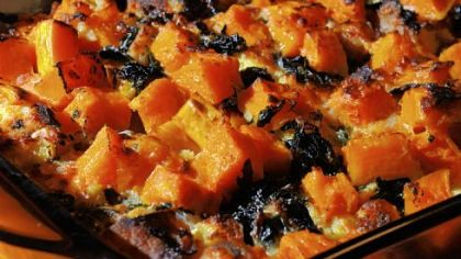 Vegetarian Squash and Bread Pudding.