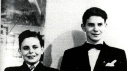 Conductor Lorin Maazel, left, and pianist Byron Janis in 1944, before a performance with the Pittsburgh Symphony at the Syria Mosque.
