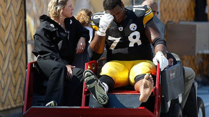 Steelers offensive lineman Max Starks' season is over; he's one of several Steelers lineman to suffer injuries this season.