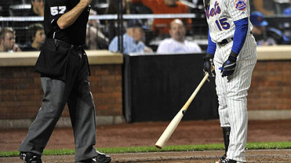 The Mets' Carlos Beltran reacts to a called third strike by home plate umpire Mike Everitt in the third inning.