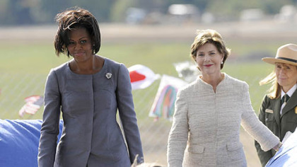 First Lady Michelle Obama and former First Lady Laura Bush take to the podium together at the Flight 93 National Memorial ceremony in Shanksville today.