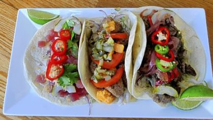 Chef Eric Wallace has put together some creative tacos at Yo Rita -- Ahi tuna, left, Southern-style seitan, and flank steak.