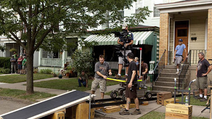 """One for the Money"" crew members set up a shot near the set of the Plum house on South Pacific Avenue in Friendship. The movie stars Katherine Heigl and Debbie Reynolds, Jason O'Mara, Daniel Sunjata and Sherri Shepherd."