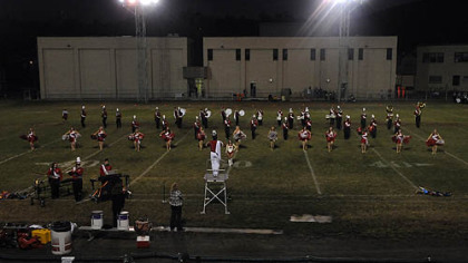 The Neshannock marching band performs Sept. 17 under the stadium lights at halftime during a game at Sto-Rox High School.