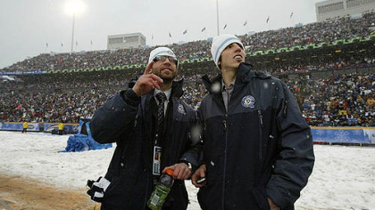 Penguins forward Max Talbot, left, goaltender Marc-Andre Fleury missed the 2008 Winter Classic due to injuries.