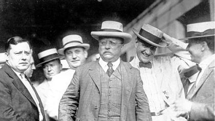 Theodore Roosevelt attended a Loyal Order of Moose convention in Pittsburgh in 1917. Mayor Joseph Armstrong is on the left.