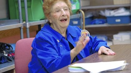 Elsa DiCicco, at age 95, still volunteers at Heritage Valley Sewickley Hospital.