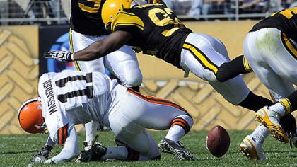 Steelers linebacker James Harrison puts a hard hit on Browns wide receiver Mohamed Massaquoi in the second quarter of Sunday's game at Heinz Field. Harrison was fined $75,000 for the hit.