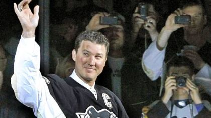 Pittsburgh Penguins owner and hockey Hall-of-Famer Mario Lemieux takes part in a pregame ceremony to commemorate the final regular season NHL hockey game played in the 41-year-old Mellon Arena, between the Penguins and the New York Islanders in April.