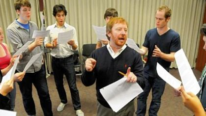 Carnegie Mellon University acting teacher Don Wadsworth runs his dialect class through exercises in High English, Cockney and Irish accents.