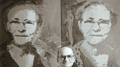 John Warhola, brother of Andy Warhol, at portrait of their mother in the Warhol seum.