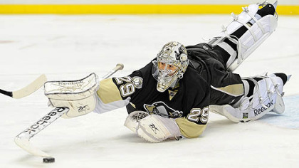 Penguins goaltender Marc-Andre Fleury has a 1-6-0 record this season.