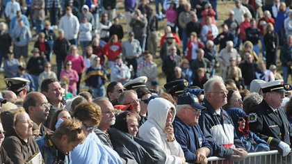 Onlookers attend today's services at the Flight 93 National Memorial ceremony in Shanksville.