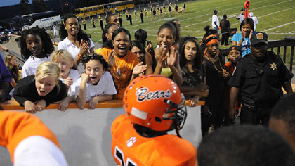 Clairton fans cheer on the football team as players enter the stadium during a home game Sept. 24 against Chartiers-Houston.