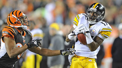 Steelers wide receiver Mike Wallace pulls in long pass from quarterback Ben Roethlisberger deep in Bengals territory at Paul Brown Stadium in Cincinnati, Monday.