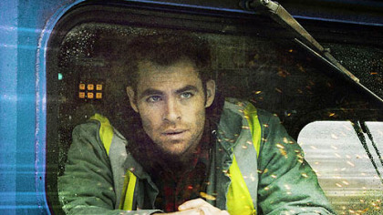 "Chris Pine plays a rookie train conductor who works with veteran engineer Denzel Washington, top, to stop an unmanned runaway train in ""Unstoppable."""