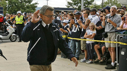 Penn State coach Joe Paterno has a career record of 399-132-3.