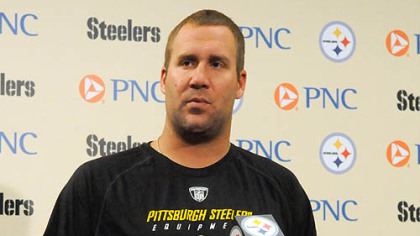Steelers quarterback Ben Roethlisberger speaks with reporters after returning to the Steelers' practice facility following a four-game suspension.