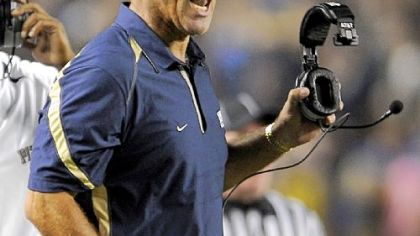 "Pitt head coach Dave Wannstedt on his offensive line: ""I hate to make a change in one position when we're struggling as a group."""