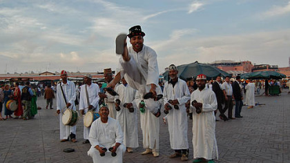 Berber performers in Jemaa el Fna, the main square of Marrakech.